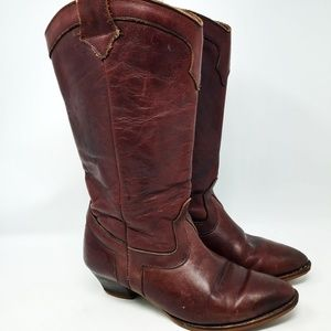 Vintage Brown Leather Womens Western/Cowboy Boots